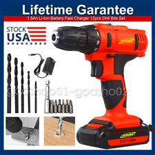 21 Volt drill 2 Speed Electric Cordless Drill / Driver with Bits Set & Battery