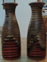 Pair of Scheurich Keramik ribbed vases with red lava, tan and black -  no.293-30