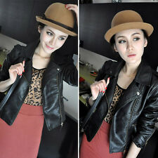 Women's Slim Motorcycle PU Soft Leather Vintage Zipper Jacket Lapel Coat Outwear