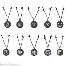 Leather Round Black Yak Bone Carving Totem Pendant Necklace Talismans Jewelry