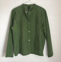 Eileen Fisher Green Cotton Snap Front Jacket Womens Size Large Lightweight