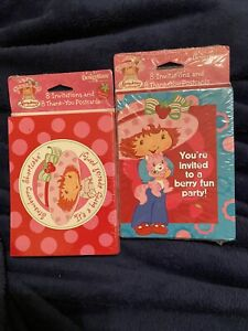 Strawberry Shortcake Party Invitations (8) and Thanks You (8) Lot Of 2 New