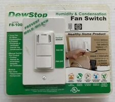 DEWSTOP FS-100 HUMIDITY CONDENSATION VENT FAN SWITCH, PREVENT MOLD MILDEW, NEW