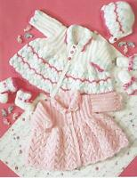 "Baby Coat Bonnet Bootees and Mitts 12-18"" DK Knitting Pattern premature size 307"