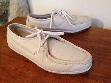 Florsheim BONE Leather Classic Oxford Shoes Lace Up Crepe Sole 40645 7.5 D MINT