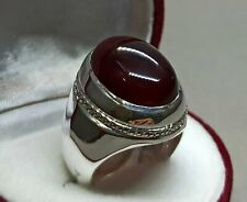 Yemeni Aqeeq Ring Handmade Brown Aqeeq Ring Mens Sterling Silver 925 Agate Ring