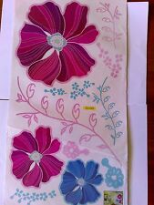 Decorative Wall Stickers Pink Blue Flowers