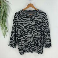 Zara Womens Zebra Striped Knit Sweater Top Size S Pullover BLack Gray