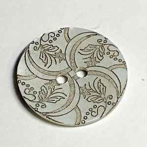 Iridescent Laser Cut Floral Design Pearl Shell 2 Hole Sew Through Button