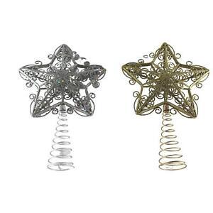 UK-Gardens Silver Or Gold 30cm x 20cm Glitter Tree Topper Star