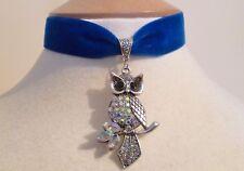 Royal Blue Velvet Rhinestone Owl Choker Gothic Pagan Medieval Necklace Pendant