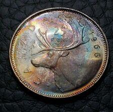 Toned Silver 1966 Canada 25 Cents Quarter| UNC Condition