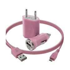 Mini Chargeur 3en1 Auto Et Secteur Usb Avec Câble Data Rose pour LG : BL20 New C