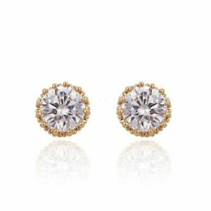 """9ct 9k Yellow """"GOLD FILLED"""" C/Z Stone Crown Stud Earrings 10mm + gift pouch"""