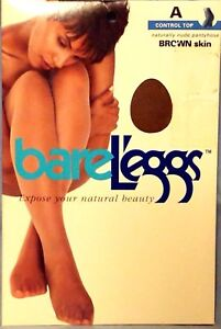 Naturally Nude Bare Leggs Pantyhose Size A Brown Skin Control Top 100% New