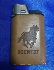 "DJEEP pocket cigarette lighter w/leather case - Mustang ""COUNTRY"" - Good Flint"