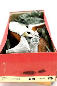 Vtg 1950s Kimel Silver Metallic Shoes Heels Slingback Peep-toe 7.5 N Torelli