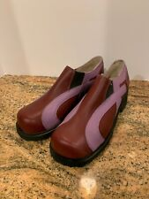 Vintage John Fluevog F Shoes Leather Platform Clog Maroon Lilac Purple Size?
