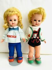 """Vintage 3 M's Girl & Boy DOLL Hard Plastic Made in W. Germany 11"""""""