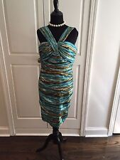 Ladies Carmen Marc Valvo Blue Brown Sleeveless Dress Size 2 New with Tags