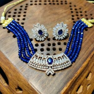 Indian Pakistan Bollywood American Diamond Necklace Earrings Party Wedding