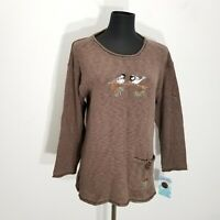 Lulu B Womens Sweater Size S M Brown Embroidered Applique Bird Pine Cone Knit