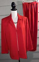 N Touch Womens Red Suit Blazer Jacket & Pants Machine Wash Sz 12