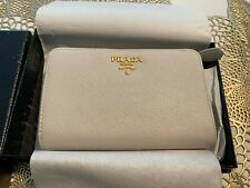 New Prada French Wallet Talco Saffiano Medium Gold Hardware Beige White 1ML225