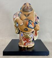 "Hotei God Statue Kutani Ware Japanese Antique 10"" Porcelain Okimono Meiji Japan"