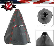 TRD Red Stitches Black Retainer Leather Shifter Shift Gear Knob Boot Cover