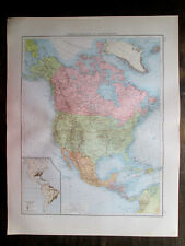 Antique Big Size map. North America. Canada. Usa. Mexico. West Indies etc. 1898