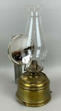 Antique Brass VICTOR Bracket Oil Lamp w/ Original Burner & Mercury Reflector