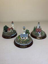 Set of 3 Thomas Kinkade Seaside Memories Collectible Lighted Lighthouses! Rare!