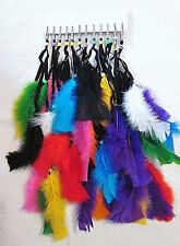 """1 DOZEN (12) """"VARIETY PACK # 1"""" ALL DIFFERENT ASSORTED FEATHER PARTY CLIPS ROACH"""