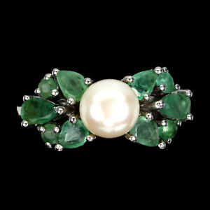 Unheated Pear Emerald 5x3mm White Pearl 925 Sterling Silver Ring Size 8