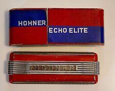 HOHNER-1930 - RARE HARMONICA ECHO ELITE DOUBLE CLÉ- CHROME ET ROUGE + BOITE