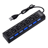7 Port USB 2.0 Multi Hub 5Gbps High Speed On/Off Switches Adapter for PC Laptop