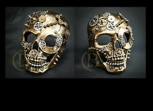 Steampunk Mask Unisex Resin Party Skull Mask (Gold)