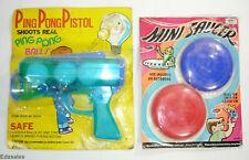 Vintage Hong Kong Toy - Ping Pong Pistol Blaster & Mini Saucer flying discs