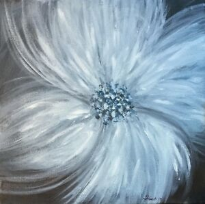 ORIGINAL ACRYLIC PAINTING FLORAL signed 12x12 BLACK WHITE FLOWER ETHEREAL BEAUTY