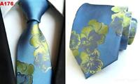 Light Blue Tie and Green Flower Patterned Handmade 100% Silk Wedding Necktie