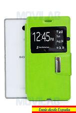 Funda tapa Flip Cover tipo libro con soporte y ventana Sony Xperia M2 Aqua verde