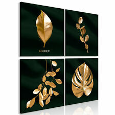 Plant Gold Canvas Decorative Picture Wall Pictures Living Room XXL 2 Motif Desig...