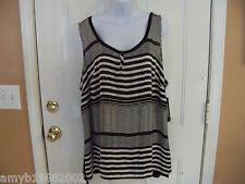 George Woven Black & White Striped Shirt Size 3X (22W-24W) Women's NEW