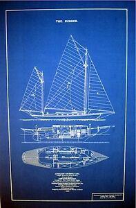"Vintage 1905 Sailboat Yawl Blueprint Plan 16"" x 25"" (144)"