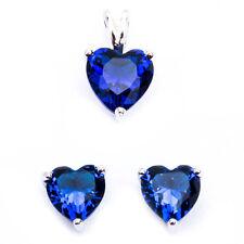 Blue Sapphire Heart .925 Sterling Silver Earring & Pendant Jewelry set