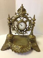 Decorative Antique Brass Clock With Two Hinged Ink Wells