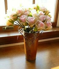 Lot of (3) Bundles Artificial Silk Roses Pink Tipped Ivory - 13 Stems Each - New