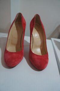 Christian Louboutin Deep Rose/Coral  Suede classic heels sz 39/UK 6