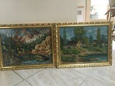 Needlepoint Embroidery Framed With Glass Set Of 2 Scenic Pictures